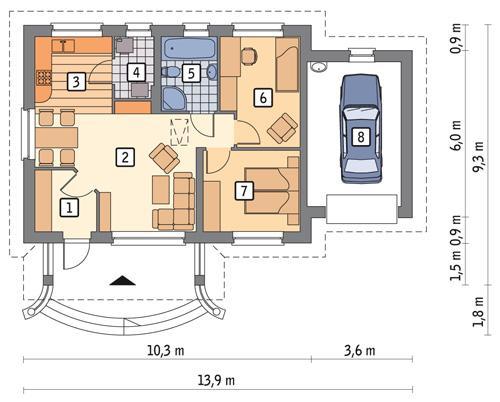 Rzut parteru POW. 80,2 m²