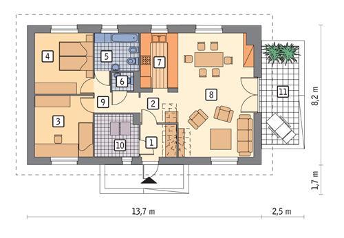 Rzut parteru POW. 88,5 m²