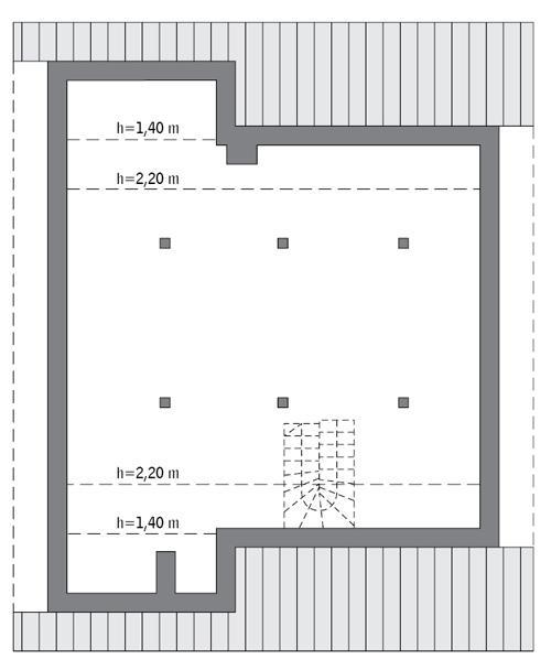 Rzut poddasza: Do indywidualnej adaptacji (74,2 m2 powierzchni użytkowej)