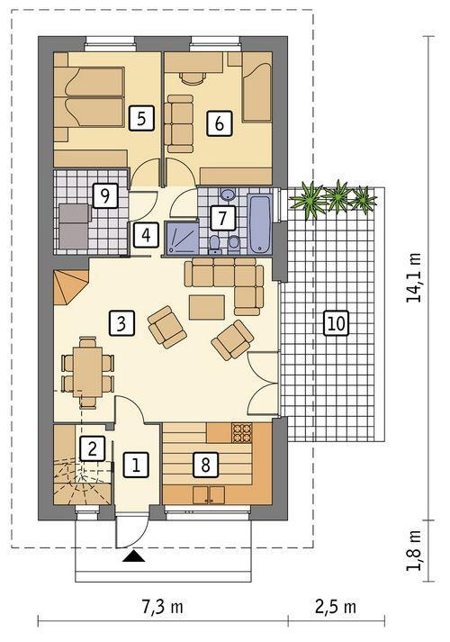 Rzut parteru POW. 80,4 m²