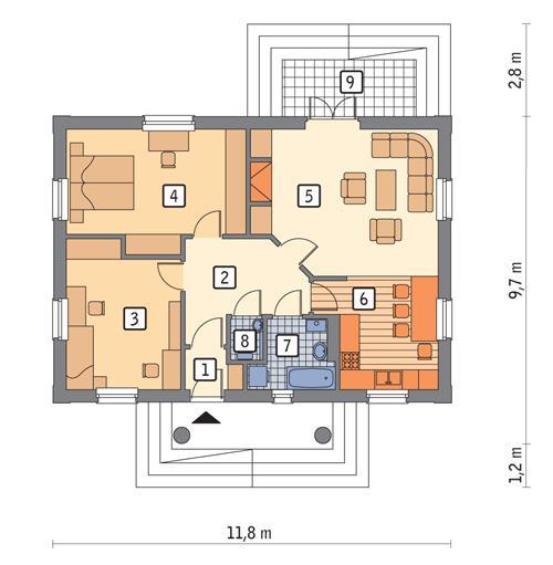 Rzut parteru POW. 78,9 m²
