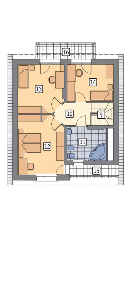 Rzut poddasza POW. 75,6 m²
