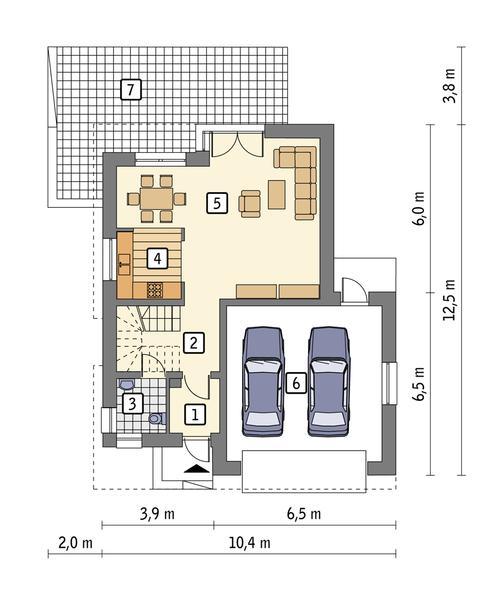 Rzut parteru POW. 81,6 m²