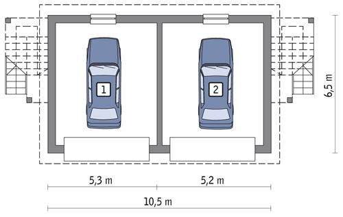 Rzut parteru POW. 54,6 m²