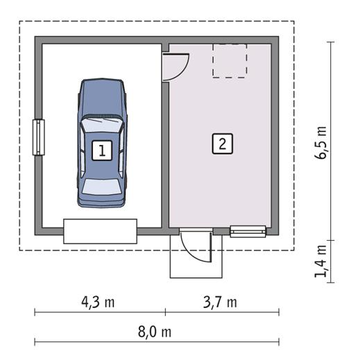 Rzut parteru POW. 43,8 m²
