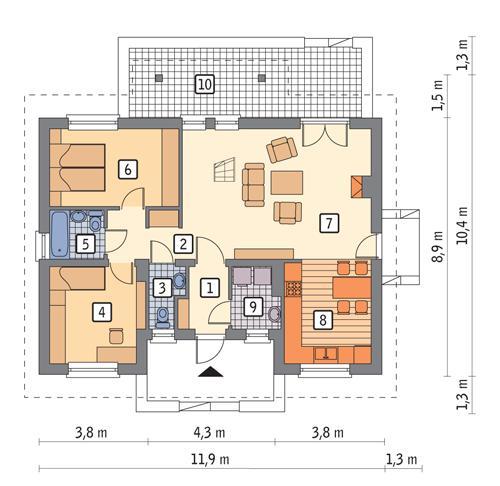 Rzut parteru POW. 77,9 m²