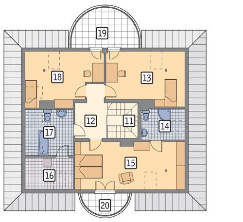 Rzut poddasza POW. 131,1 m²
