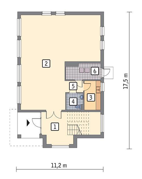 Rzut parteru POW. 136,9 m²