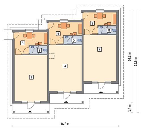 Rzut parteru POW. 151,2 m²