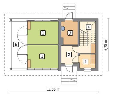 RZUT PARTERU POW. 42,8 m²